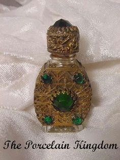 Czechoslovakia Jeweled Mini Perfume Bottle Gilt Caged Czech Perfume from theporcelainkingdom on Ruby Lane