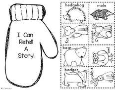 Paper Bag Retelling: The Mitten - by Jan Brett. 2 versions included: Colored & Black/White too. Jan Brett, Kindergarten Literacy, Literacy Activities, The Mitten Book Activities, Reading Activities, Literacy Centers, Winter Fun, Winter Theme, Winter Ideas