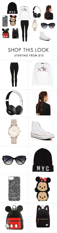 """NYC here I come"" by jada-gymnast-639 ❤ liked on Polyvore featuring Disney, Beats by Dr. Dre, LullaBellz, ROSEFIELD, Converse, La Perla, Saks Fifth Avenue Collection, Skinnydip, Loungefly and Herschel Supply Co."