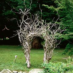 Driftwood Delight arbor Make a statement with uncommon materials in your garden. Some driftwood and DIY handiwork crafted this spe. Garden Archway, Garden Arbor, Diy Garden, Garden Gates, Dream Garden, Garden Projects, Garden Entrance, Arbor Gate, Wisteria Garden