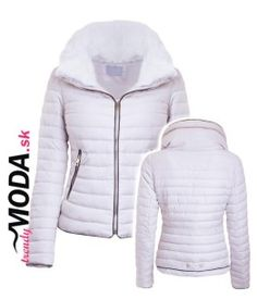 Biela krátka dámska zimná bunda - trendymoda.sk