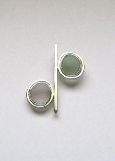 Sea Glass Jewelry Sterling Aqua & White Sea Glass