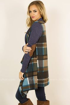 MEDIUM This gorgeous plaid cardigan is just what you need to take you from fall through winter. The beautiful teal and navy plaid print is on point and super comfy! 95% Polyester5% SpandexHand Wash Cold or Dry CleanHang or Line DryMade in U.S.A.