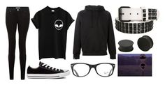 """random # 139"" by doodlebob3 ❤ liked on Polyvore featuring New Look, Converse, SWEAR, Ray-Ban and KAOS"