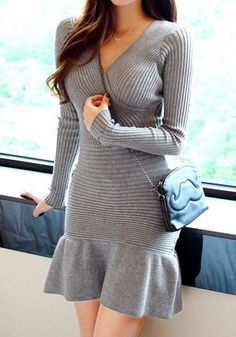 Grey Ruffle Hem Knit Dress
