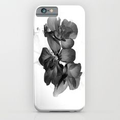 Black Geranium in White ($35) ❤ liked on Polyvore featuring accessories, tech accessories, case, phone case and phonecase