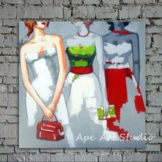 Shopping lady oil paintingwomen paintinglarge oil by ApeArtStudio