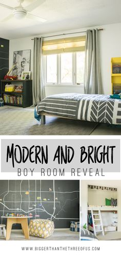 Must PIN! This Modern and Bright Boy Room has lots of DIY, upcycled thrift store pieces and more.
