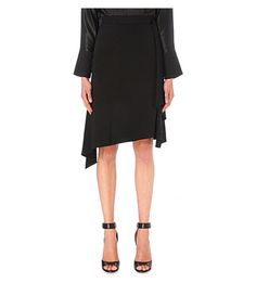 GIVENCHY Ruffled Crepe Midi Skirt. #givenchy #cloth #skirts