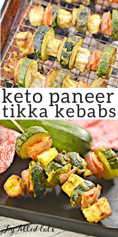 Learn how to make paneer tikka! It's really easy. My keto paneer tikka kebabs have the perfect combination of paneer cheese, veggies, and spices. Kebab Recipes, Curry Recipes, Indian Food Recipes, Ethnic Recipes, Indian Snacks, Lchf, Grilled Paneer, Low Carb Recipes, Healthy Recipes