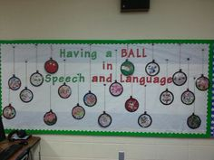 Christmas ornament bulletin board speech therapy