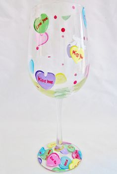 painted wine glasses ideas for valentines day | Request a custom order and have something made just for you.