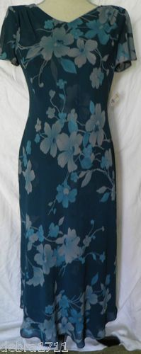 "NWT Talbots Teal Blue Green Gray SILK  Floral sz 4P short sleeve dress 46"" long"