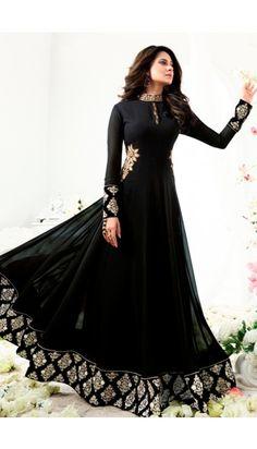 202802f8231 Jennifer Winget Black Georgette And Silk Anarkali Suit With Dupatta -  DMV14880 Indian Anarkali