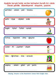 ODYOLOG, KONUŞMA ve SES BOZUKLUKLARI UZMANI PELİN KİŞİOĞLU KALAN: KELİMELERDEN KURALLI CÜMLE OLUŞTURMA ETKİNLİĞİ Learn Turkish, Turkish Language, Speech And Language, Grade 1, Logs, Teacher, Student, Math, Learning