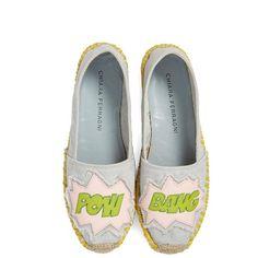 Chiara Ferragni 'Pow Bang' Espadrille ($325) ❤ liked on Polyvore featuring shoes, sandals, light denim, patent leather sandals, chiara ferragni, chiara ferragni shoes, summer shoes and patent shoes