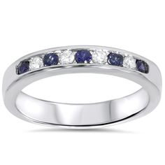 1/4ct Blue Sapphire Diamond Channel Set Wedding Ring 14K White Gold -- Check this awesome image  : Wedding Rings