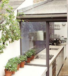 indoor outdoor kitchen designs   Indoor/outdoor Kitchen Indoor Outdoor Kitchen, Outdoor Kitchen Design, Outdoor Spaces, Kitchen Designs, Kitchen Ideas, Windows, Contemporary, Kitchens, Interiors