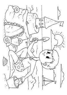 Coloring Page to build a sandcastle Summer Coloring Sheets, Spring Coloring Pages, Free Coloring Sheets, Coloring Book Pages, Sand Castle Craft, Castle Crafts, Art Drawings For Kids, Drawing For Kids, Easy Drawings