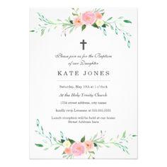 Sweet Floral Baptism Invitation