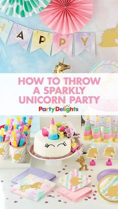 If you love unicorns, then you'll LOVE these sparkly unicorn party ideas! Get all the inspiration you need to throw a magical unicorn party with decorations,, tableware, party food ideas, party bags and an amazing unicorn cake.