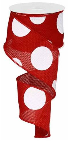 2.5 Red Giant Dot Ribbon RG0120024 Red Dot by CustomWreathDecor