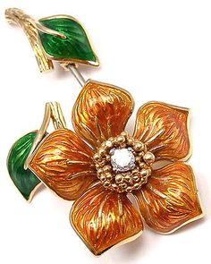 Authentic Vintage Cartier 18K Yellow Gold Diamond Enamel Flower Pin Brooch | eBay - $6,500