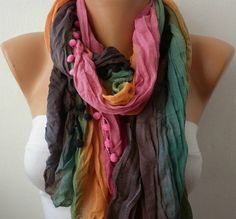Multicolor Women Shawl Scarf  Headband Necklace Cowl by fatwoman, $13.50