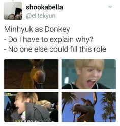 "I'm honestly so here for the ""Monsta X as Shrek Characters"" memes lol Shownu, Jooheon, Kihyun, Hyungwon, K Pop, Monsta X Funny, Monsta X Minhyuk, Drama Memes, Starship Entertainment"