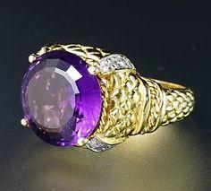 14K Yellow Gold Amethyst Diamond Textured Matelassé Huge Massive Cocktail Ring