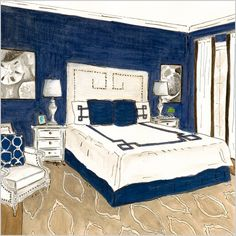 Apparently, the Hamptons is my style- classic, preppy beach look updated with a fun modern twist. Red, white and blue mixed with modern graphics and seashells of all shapes and forms.   that's funny b'c this bedroom looks exactly like my wash room.