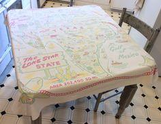 Vintage 1940's Souvenir Tablecloth Texas & by unclebunkstrunk