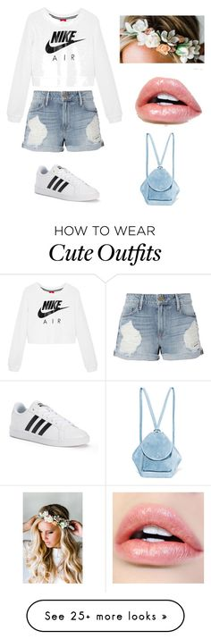 """Cute summer outfit!!"" by jadenlane on Polyvore featuring NIKE, Frame, adidas, Emily Rose Flower Crowns and MANU Atelier"