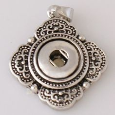 1 PC Pendant ONLY -- Fits 12MM Metal Chunk Pop Charm Zinc Alloy Silver Snap Popper Interchangeable KB0898 CP0028 This is for pendant only Size: 24mmx24mm Material: Brass Plated Silver Plated Alloy