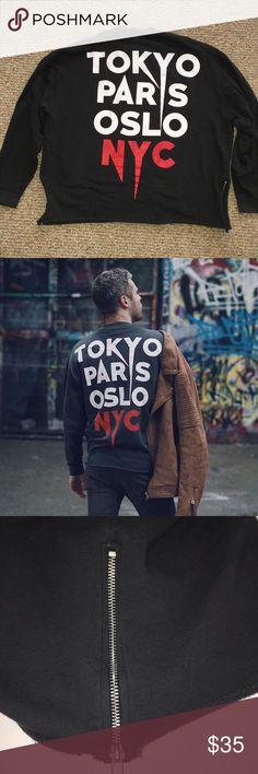 "Asos Tokyo Paris Oslo NYC Sweatshirt GUC. Size XL. Charcoal gray. Zippers at the hips. Rough hem at the bottom. Pit to pit 26"". Length 25"". Cotton. ASOS Shirts Sweatshirts & Hoodies"