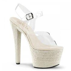 """Pleaser 7"""" beige braided platform stripper sandal"""