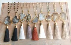 Popular Agate tassel necklace, Long layering tassel necklace.Stone tassel…