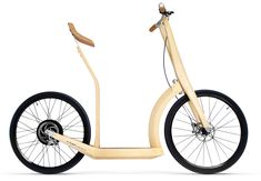 a bamboo hybrid between a bike and a scooter - looks like fun