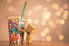danbo with starbucks. Danbo, Best Fb Cover Photos, Starbucks Background, Box Robot, Candy Photography, Abstract Photography, Good Morning Quotes For Him, Amazon Box, My Starbucks