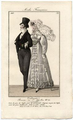This fashion plate clearly shows the ideal dandified shape aspired to by men's clothing of the Regency period. the fashionable silhouette is not always as apparent from just looking at the garments. The small waist, full thighs, sloped shoulder line.