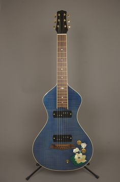 Asher Electro Hawaiian Model I lap steel with lotus flower inlay by Jeff Yamada