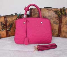 4a39347719 Top Quality Louis Vuitton Full Leather Handbag MM MONOGRAM M41046 Rose -   198.99