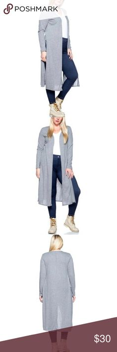 New Plus Size Gray Duster New plus size gray maxi duster. Great for formal, or casual occasions. Available in XL-4X. #PlusSize #Cardigan #Maxi #Duster #Sweater Sweaters Shrugs & Ponchos