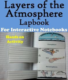 Layers of the Atmosphere Lapbook: This lapbook is a fun hands on activity for students to use in their interactive notebooks. Students may research different facts about each layer of the atmosphere and write what they find on the provided blank lines.