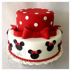 Minnie Mouse Cake...I think it needs something on top like Minnie ears molded from fondat:
