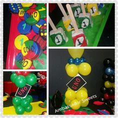 Uno birthday party. Rice Krispie treats,oreos,  balloon centerpieces