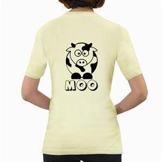 Cute+Little+Black+and+White+Farm+Milk+Cow+Moo++Womens'+T-shirt+(Yellow)+Women's+Yellow+T-Shirt