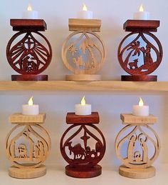 Scroll Saw Patterns :: Lighted projects :: Candle holders & Luminaries :: Nativity votive candle or tea light stands -