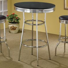 Coaster Cleveland 50's Soda Fountain Bar Table with Black Top - Coaster Fine Furniture