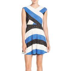 BCBGMAXAZRIA 'Jasmyne' Stripe Lace Dress ($198) ❤ liked on Polyvore featuring dresses, sapphire combo, lace cocktail dress, striped dress, stretchy dresses, stripe dress and sleeveless lace dress